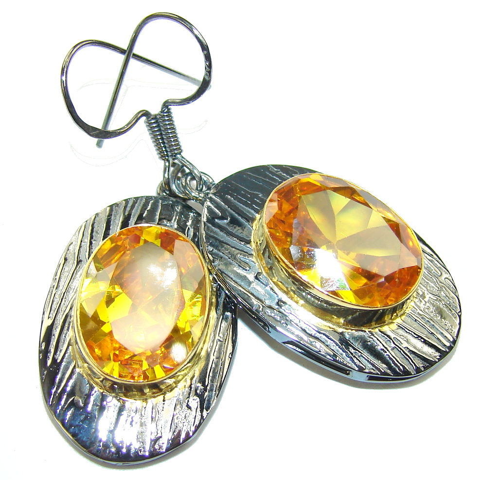 Amazing Golden Quartz, Gold Plated, Rhodium Plated Sterling Silver Earrings