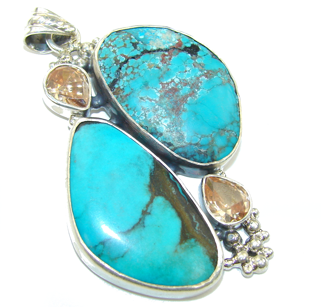 Big! Classic Beauty! Turquoise Sterling Silver Pendant