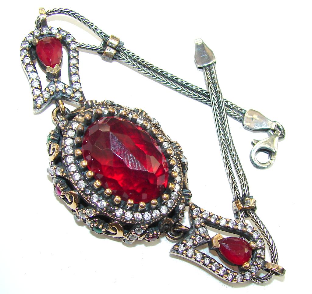 Victorian Style! Ruby Quartz & White Topaz Sterling Silver Bracelet