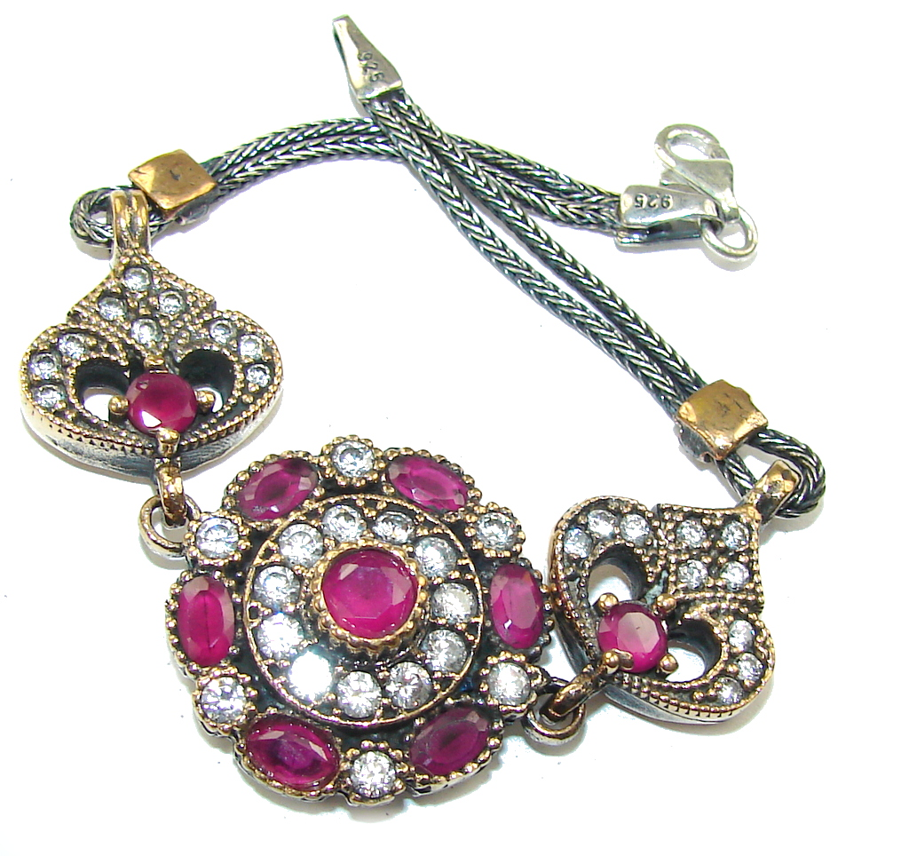 Victorian Style! Pink Ruby & White Topaz Sterling Silver Bracelet