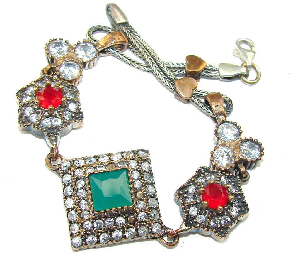 Victorian Style! Green Emerald & Ruby & White Topaz Sterling Silver Bracelet
