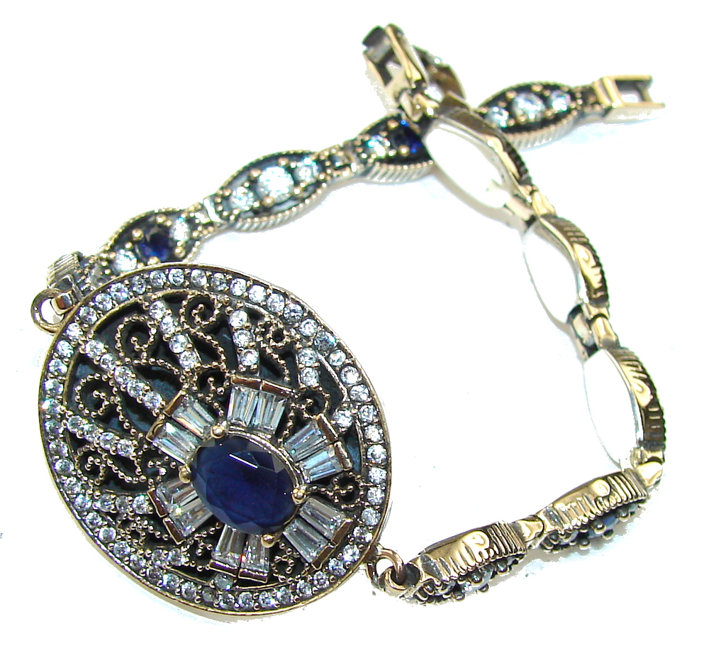 Victorian Style! Blue Sapphire & White Topaz Sterling Silver Bracelet