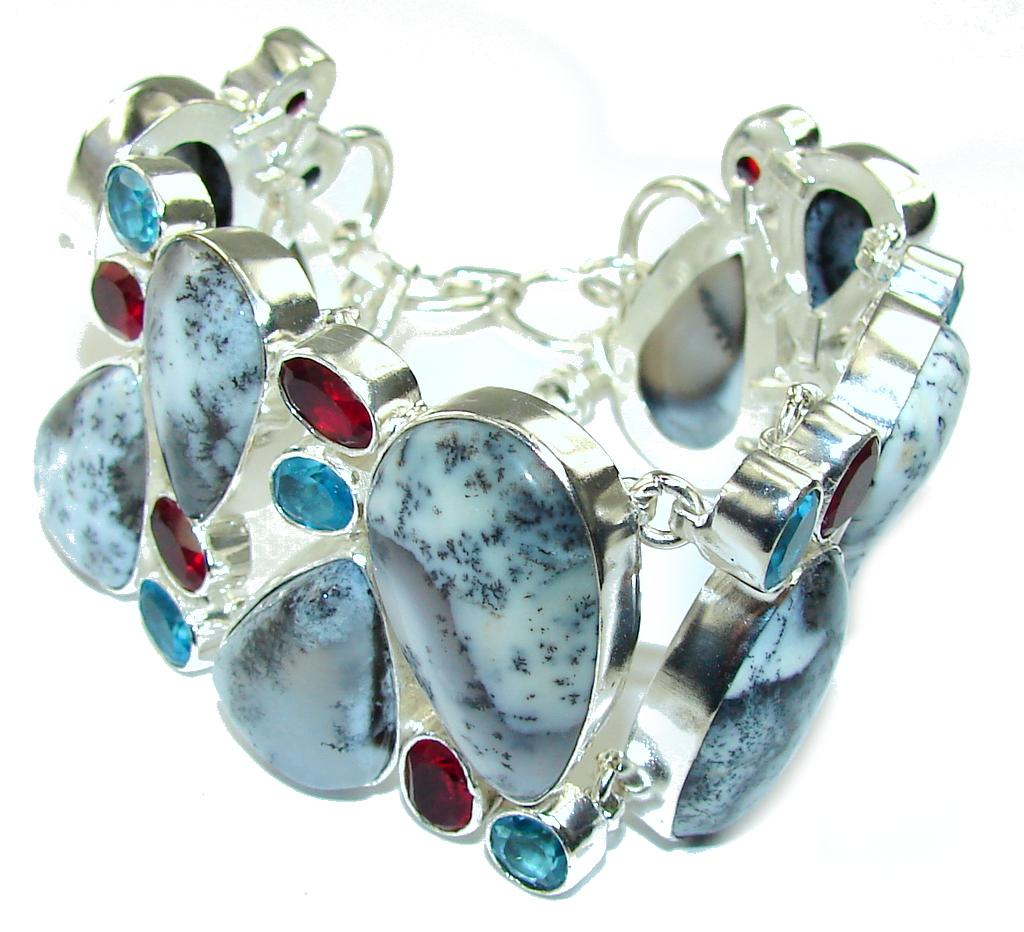 Snow Falling! White Dendritic Agate & Swiss Blue Topaz & Garnet Sterling Silver Bracelet