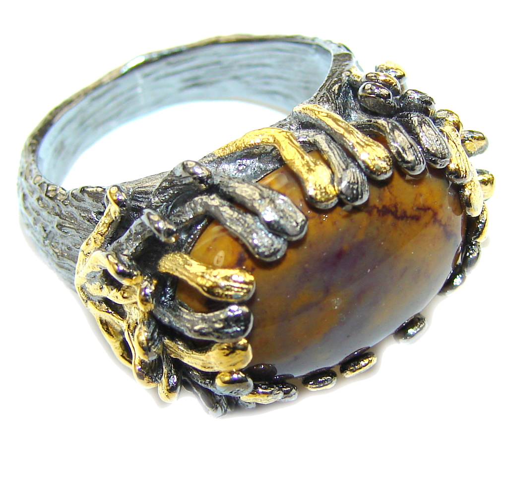 Classic Beauty! AAA Morrisonite Jasper, Gold Plated, Rhodium Plated Sterling Silver Ring s. 7 1/4