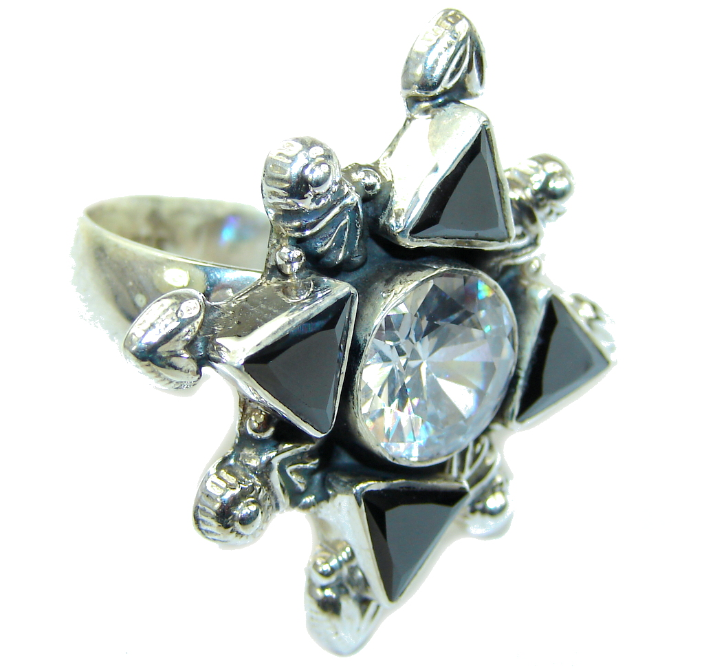 Big! Secret Beauty! White Topaz & Hematite Sterling Silver Ring s. 11