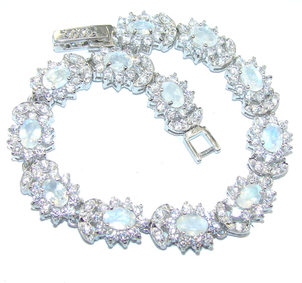Luxury White Moonstone & White Topaz Sterling Silver Bracelet
