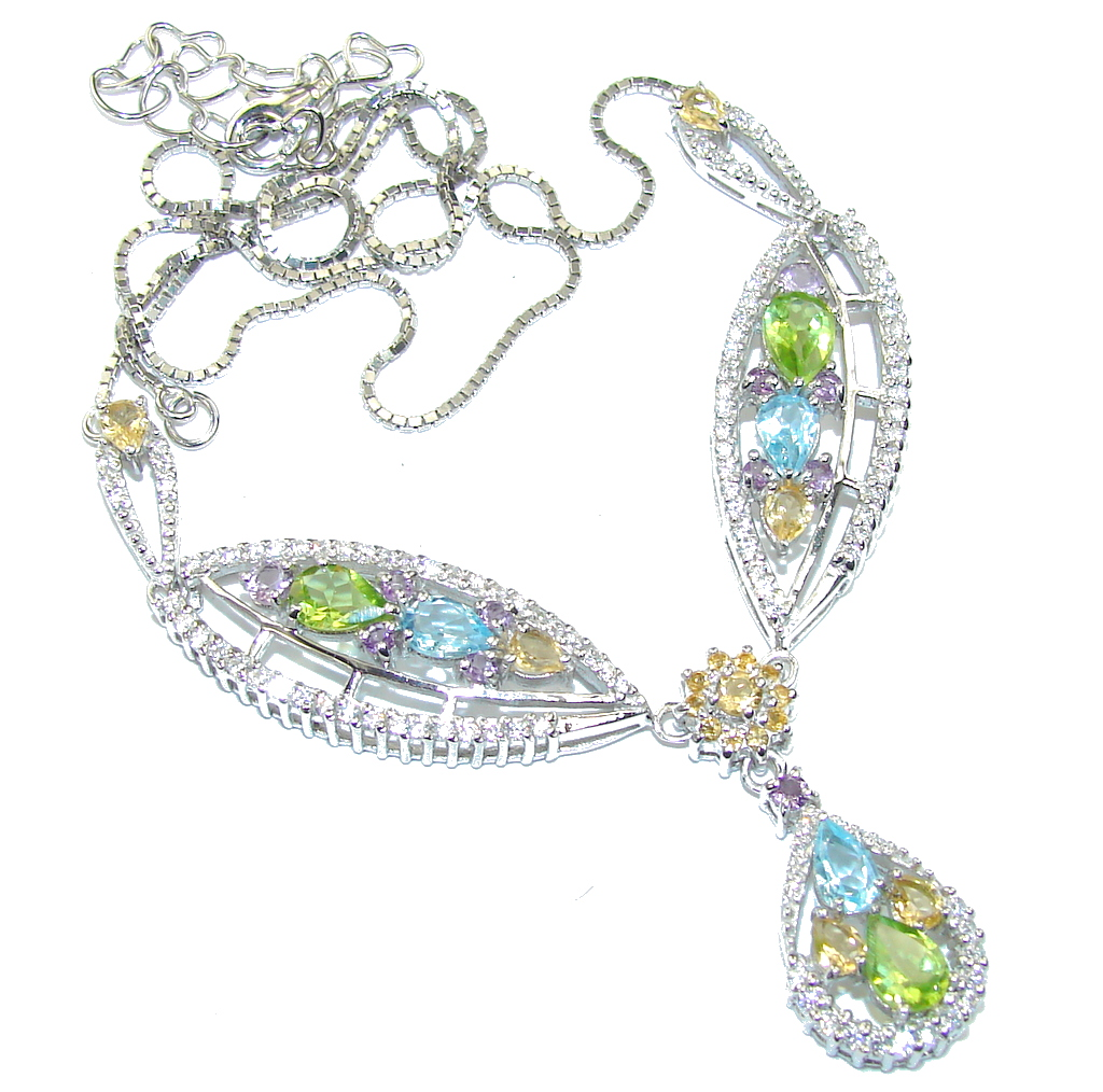 Genuine! AAA Citrine & Swiss Blue Topaz & Peridot & White Topaz Sterling Silver Necklace
