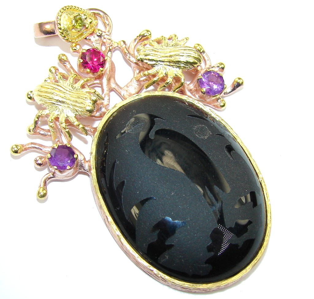Big! Fashion Design Black Onyx, Rose & Gold Plated Sterling Silver Pendant