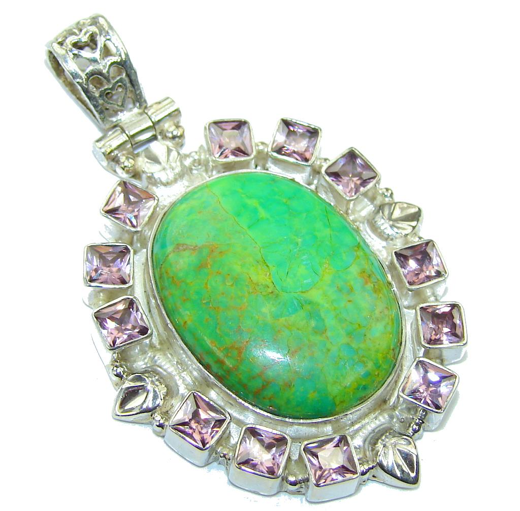 Classic Green Turquoise & Quartz Sterling Silver Pendant