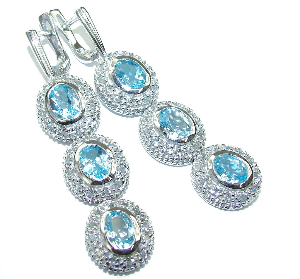 Image of Luxury! AAA Swiss Blue Topaz & White Topaz Sterling Silver earrings