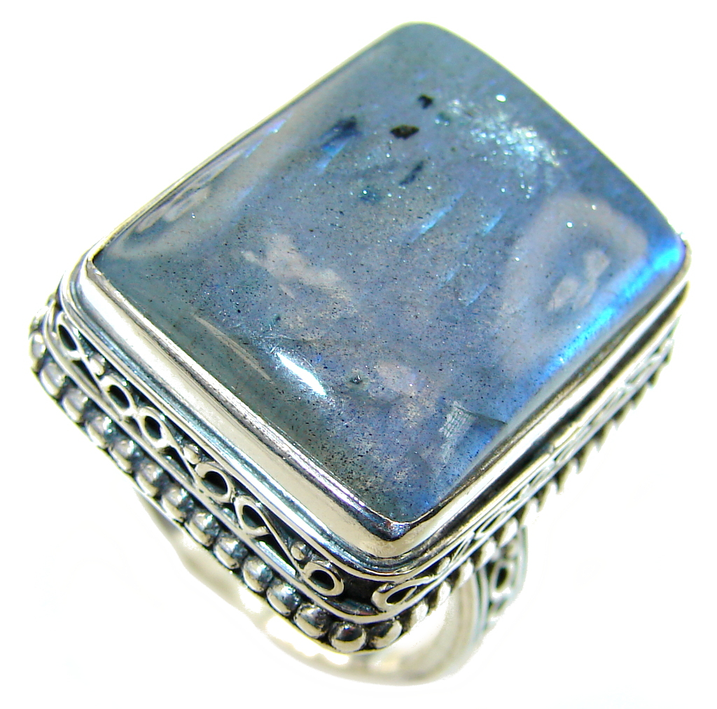 Amazing! AAA Blue Labradorite Sterling Silver Ring s. 9 1/2
