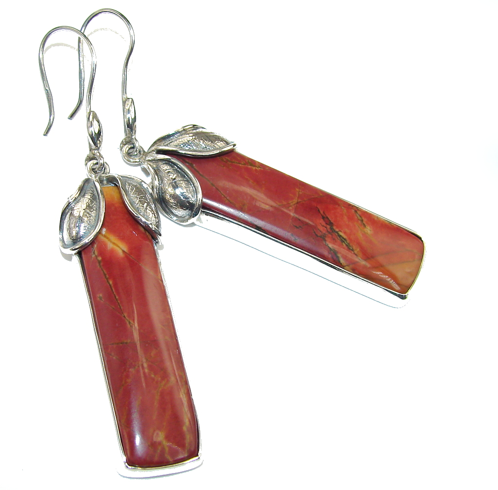 Beautiful AAA Red Creek Jasper Sterling Silver Earrings