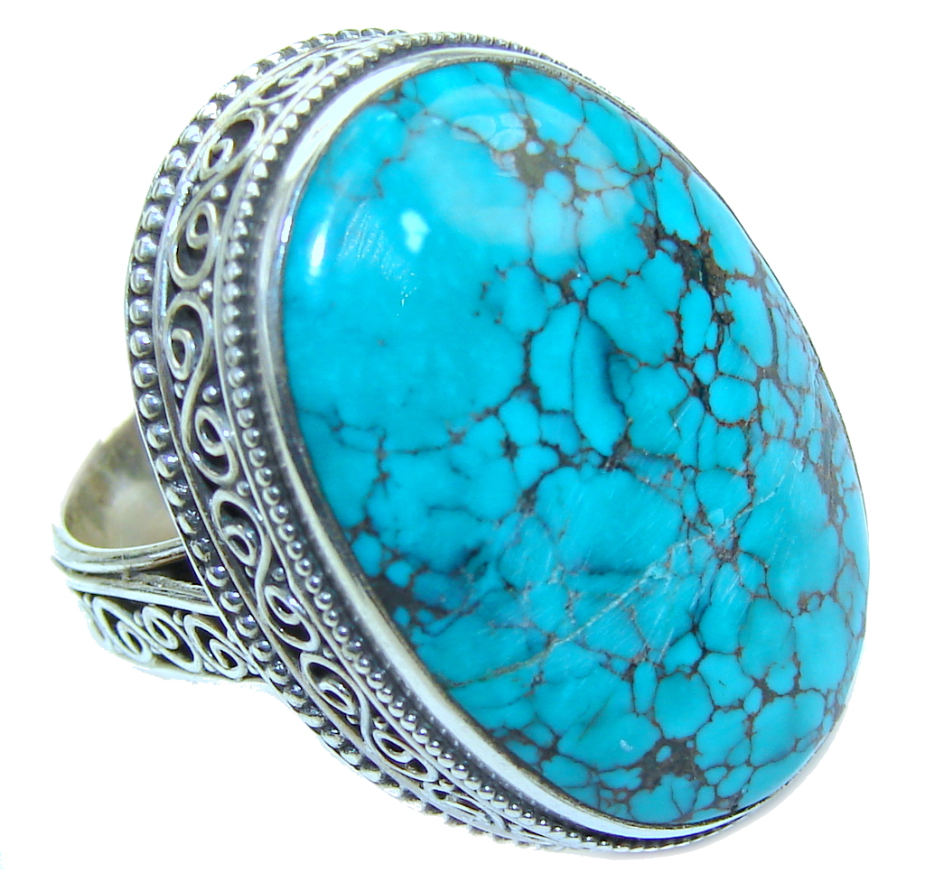 Big! Natural Blue Turquoise Sterling Silver Ring s. 8 1/2