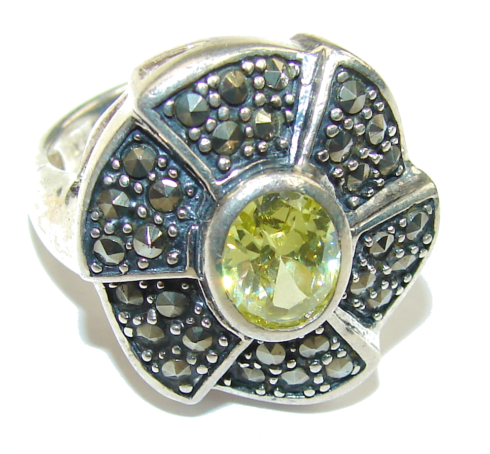 marcassite.com view the photo of  Fantastic Yellow Quartz Sterling Silver Ring s. 7