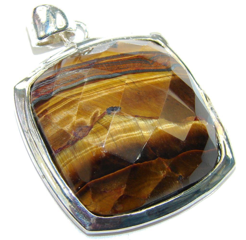Amazing Faceted Golden Tigers Eye Sterling Silver Pendant