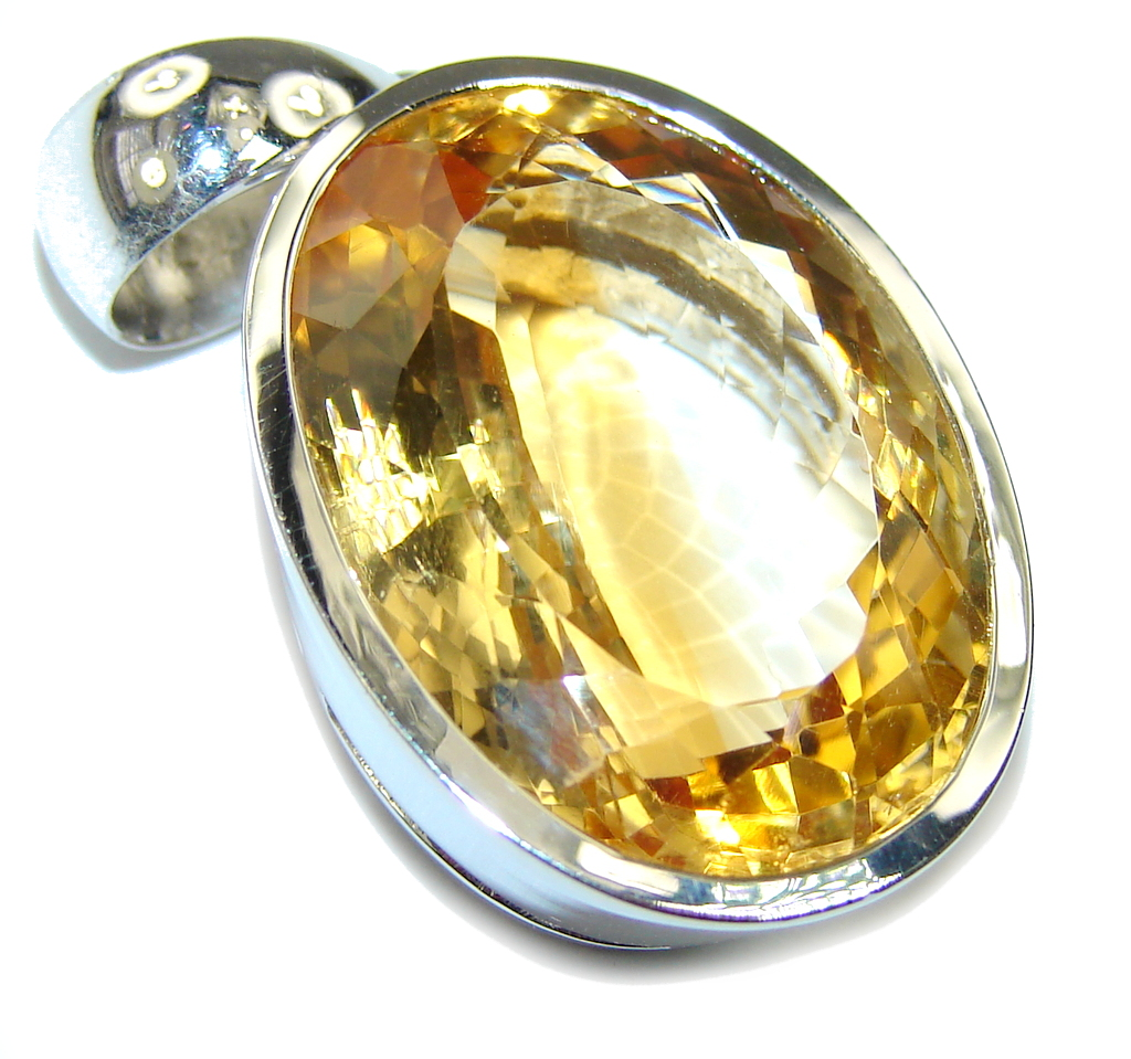 Bali Secret Precious Oval Cut Citrine Sterling Silver Pendant