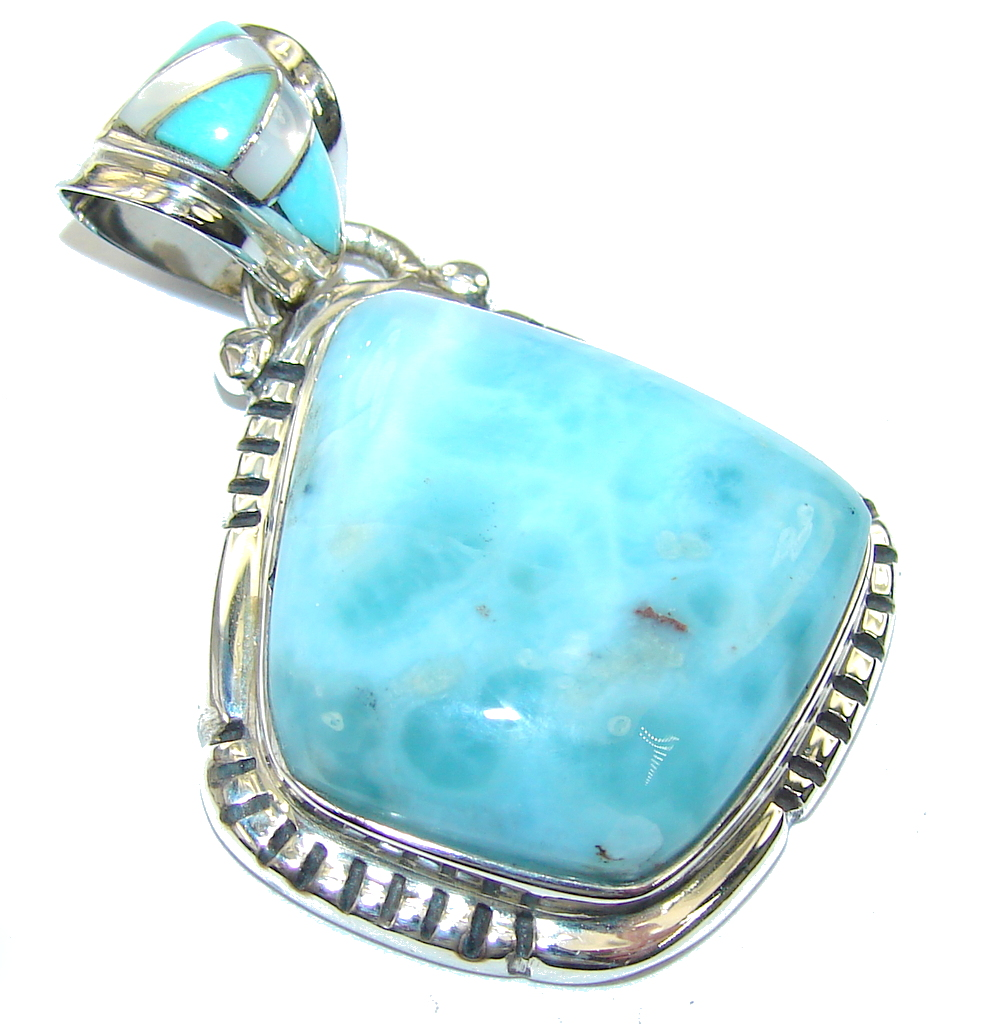 Beautiful AAA Blue Larimar Blister Pearl Sterling Silver Pendant