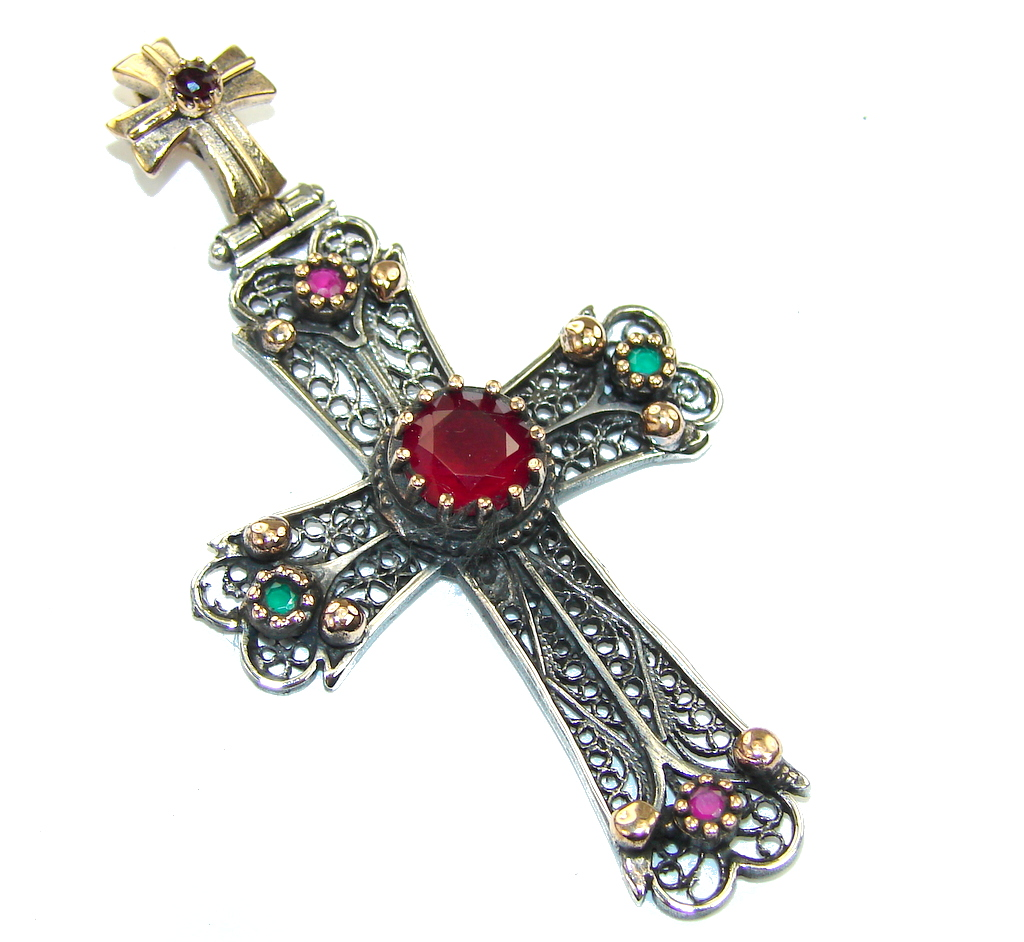 Pure In Heart! Blue Sapphire, Pink Ruby Sterling Silver Pendant / Cross