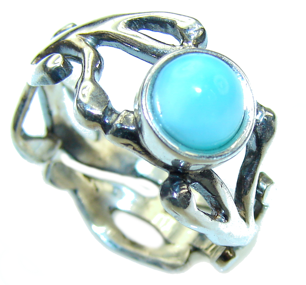AAA Blue Larimar Sterling Silver Ring s. 6 1/4- adjustable