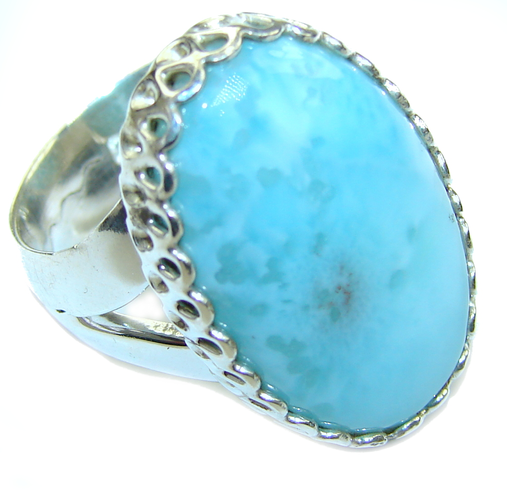 AAA Blue Larimar Sterling Silver Ring s. 8