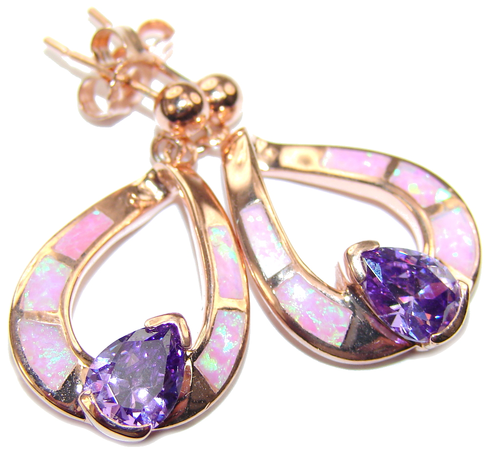 Sublime Purple Cubic Zirconia Fire Opal Sterling Silver earrings