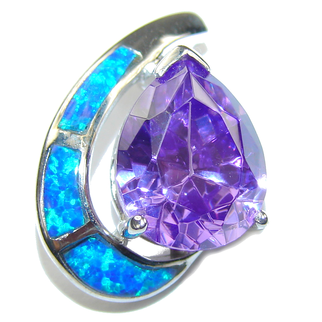 Amazing AAA Purple Cubic Ziconia Fire Opal Sterling Silver Pendant