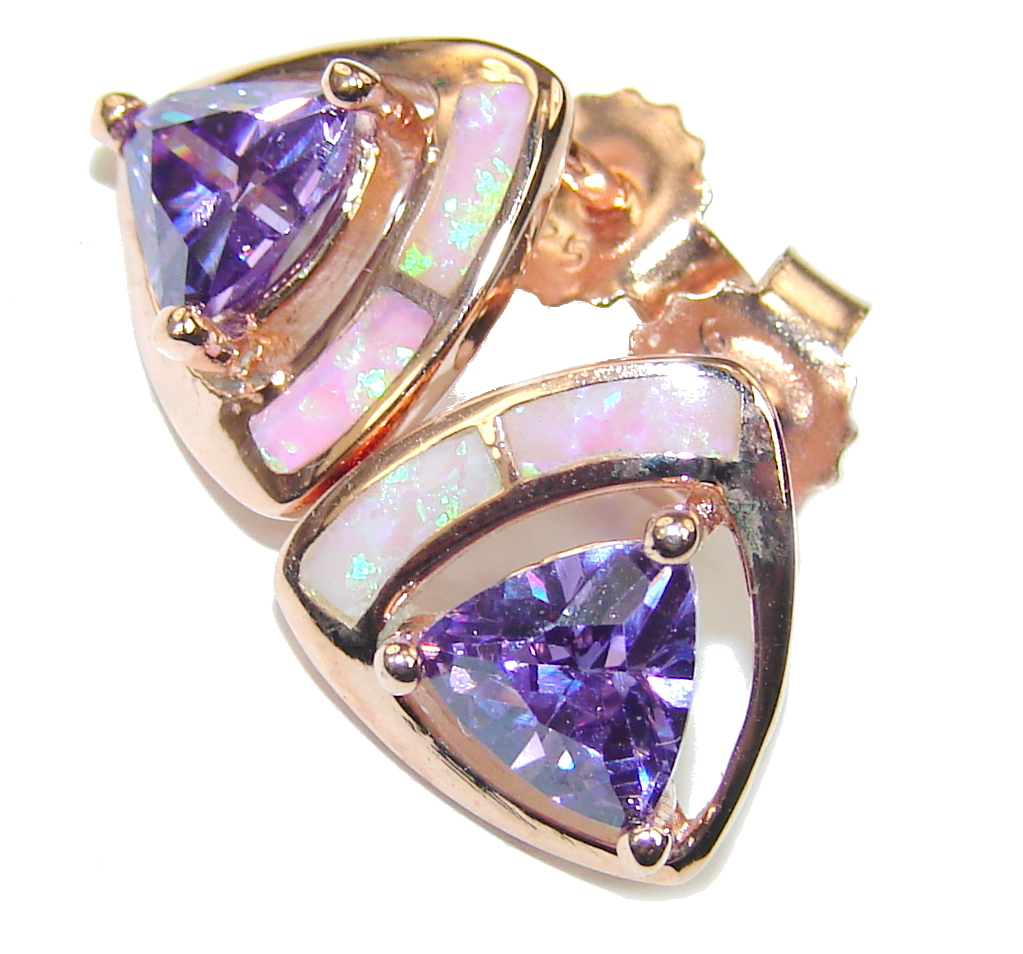 Luxury Purple Cubic Zirconia Fire Opal Rose Gold over Sterling Silver ...