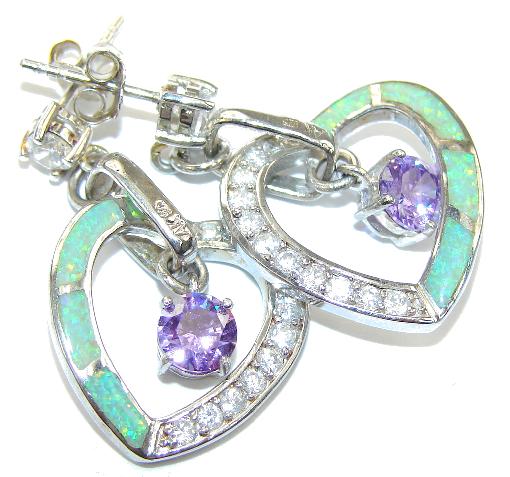 Purple Cubic Zirconia Fire Opal Sterling Silver earrings