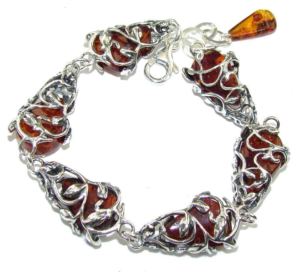 Rich Design Genuine  AAA Polish Amber Sterling Silver Bracelet
