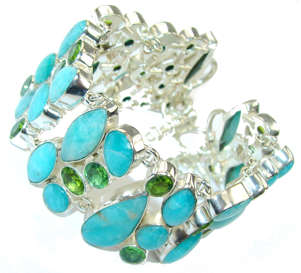 Simply Fabulous Amazonite Green Quartz Sterling Silver Bracelet