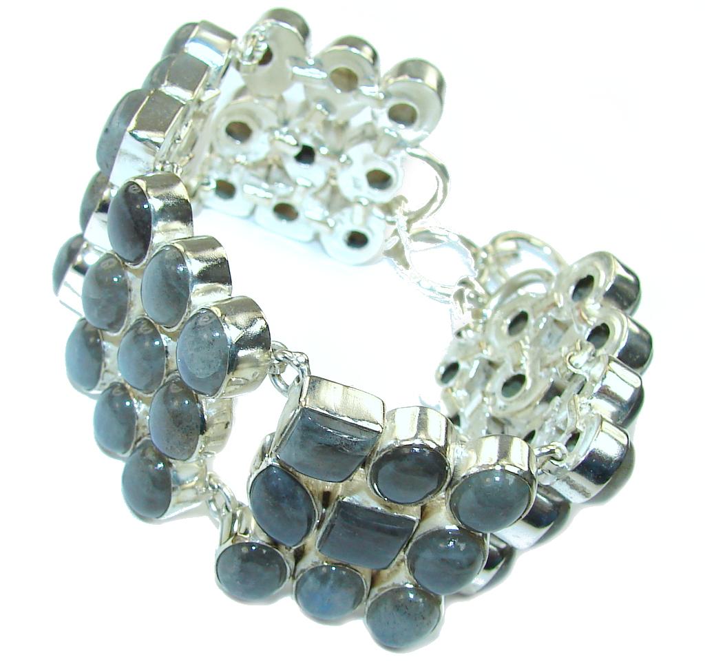 Stunning AAA Genuine Fire Labradorite Sterling Silver Bracelet