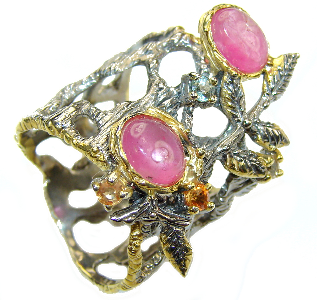 Never Apart Ruby Sapphire Gold Plated  Rhodium Plated Sterling Silver Ring s. 9 1/2