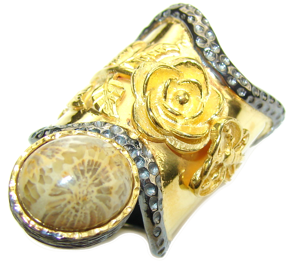 Big! Gorgeous Brown Fossilized Coral, Gold PLated, Rhodium Plated Sterling S..