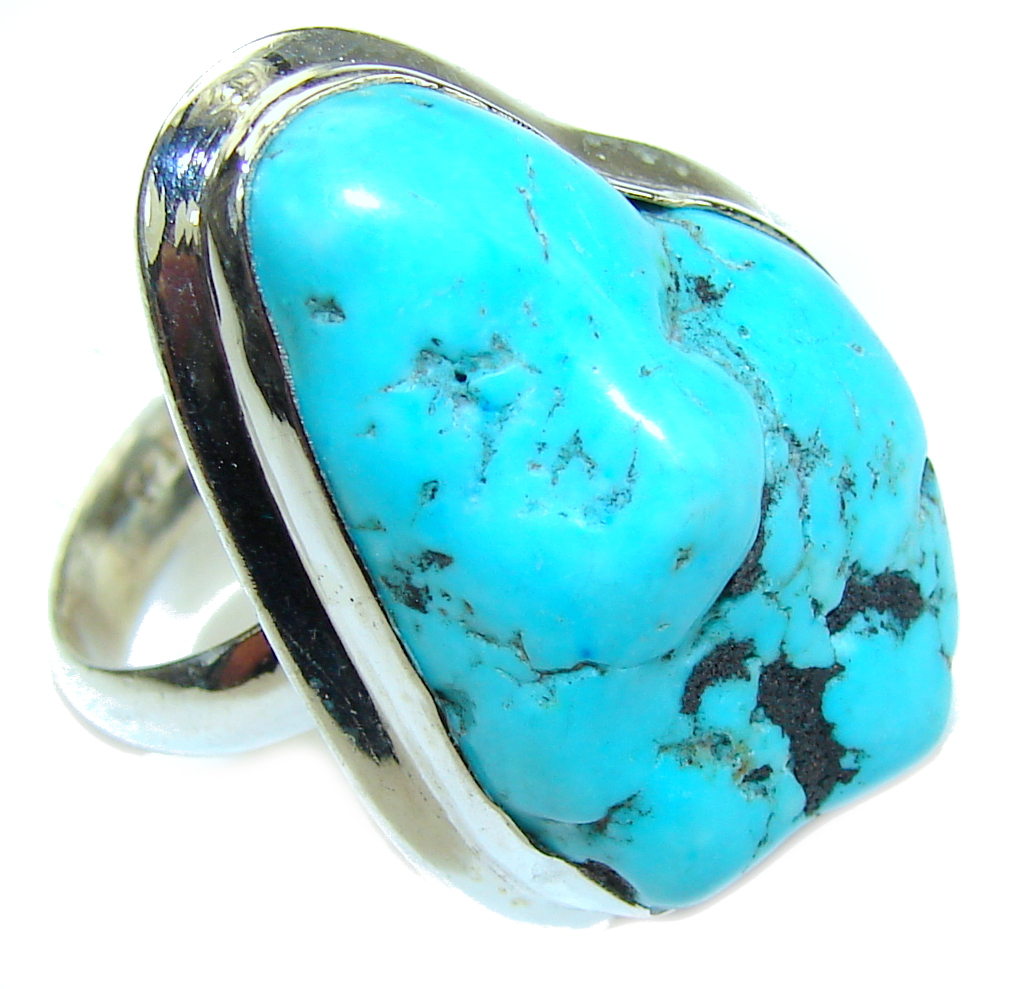 Big Natural Blue Turquoise Sterling Silver Ring s. 10