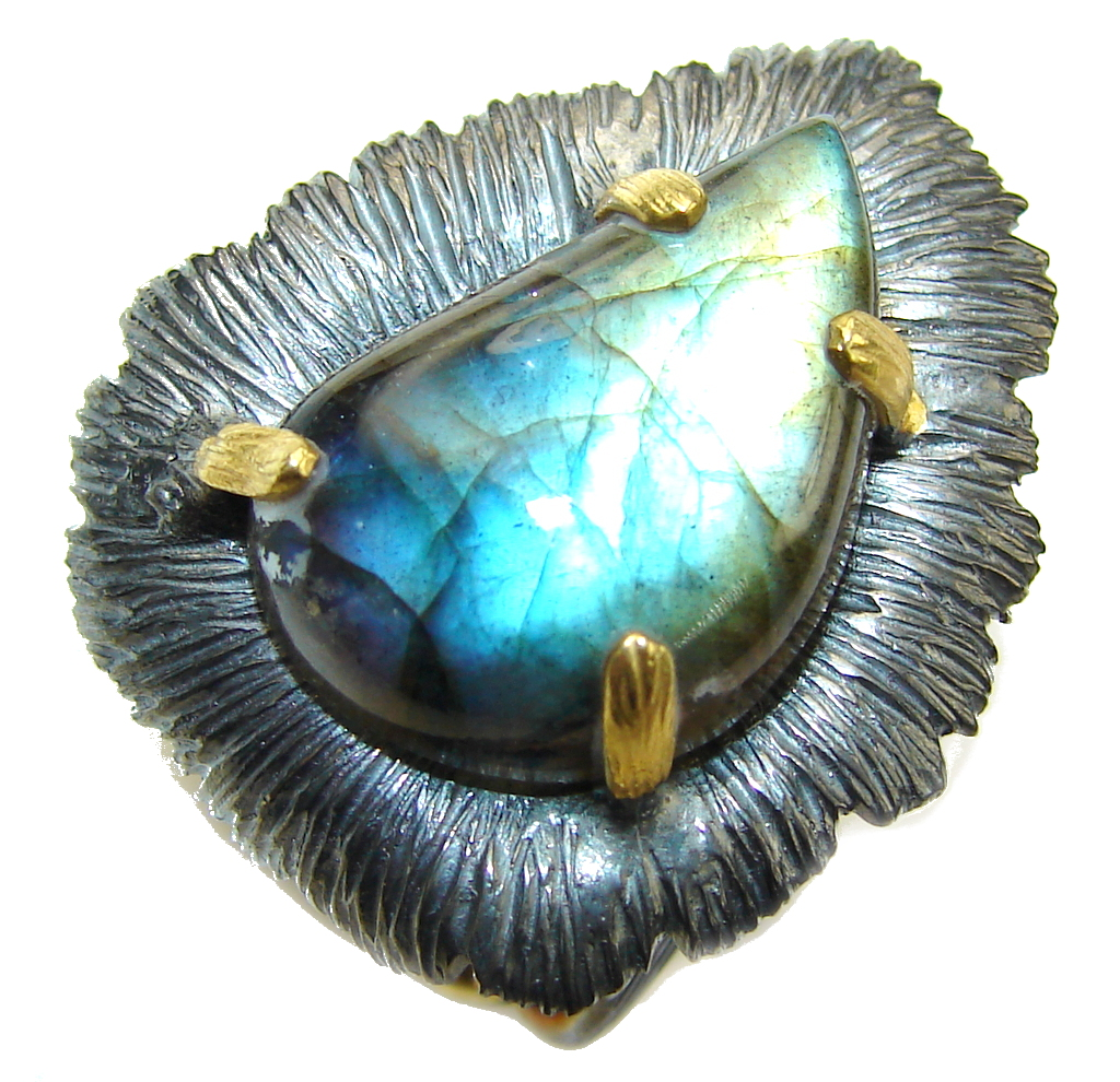 Just Perfect AAA Labradorite, Rhodiium Plated, Gold Plated Sterling Silver Ring s. 6 3/4