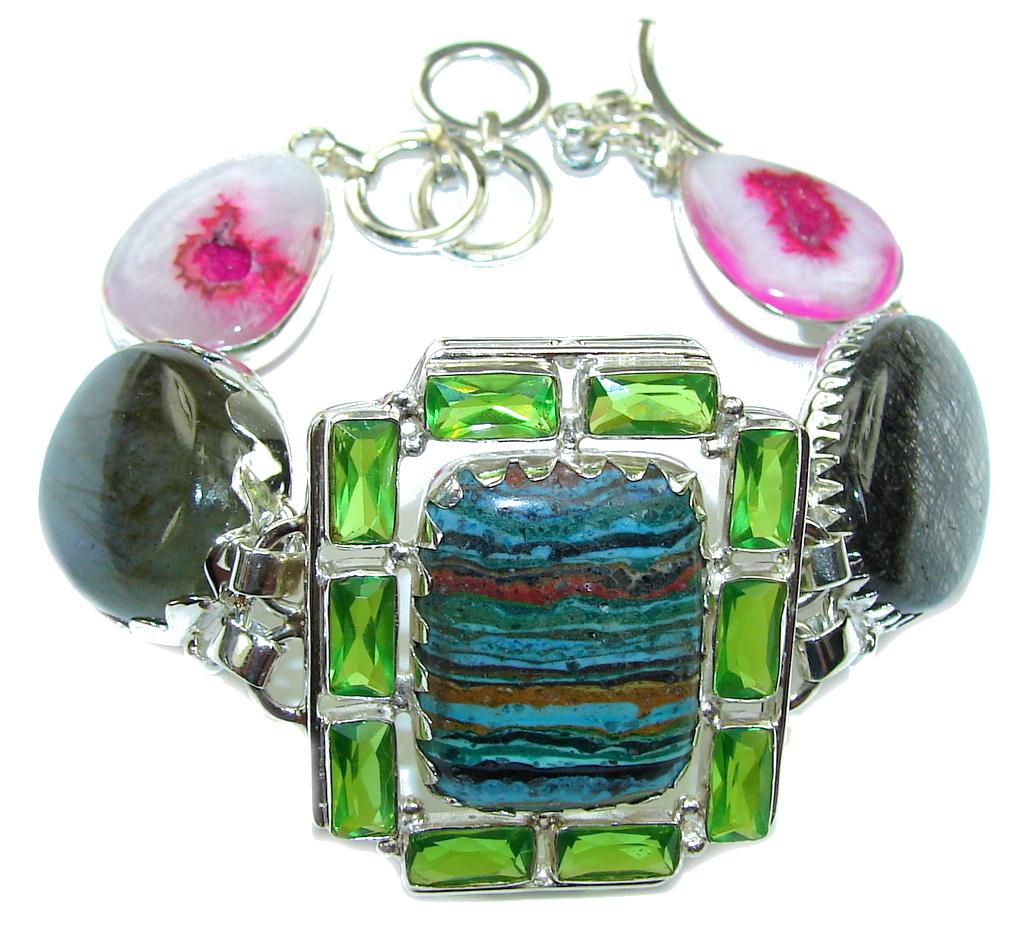 Amazing Design!! Rainbow Calsilica Sterling Silver Bracelet