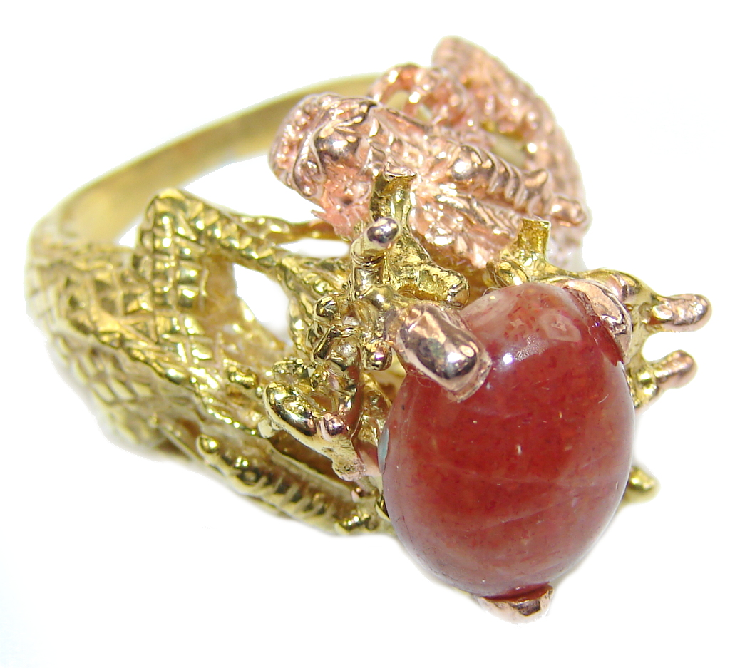 Two Dragons! Stylish Golden Calcite,Two Tones Sterling Silver ring s. 8 1/2
