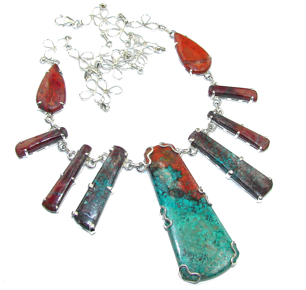 Halo Of Beauty!! Red Sonora Jasper Sterling Silver Necklace