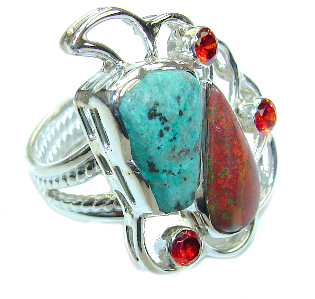 Amazing Red Sonora Jasper & Garnet Sterling Silver Ring s. 9