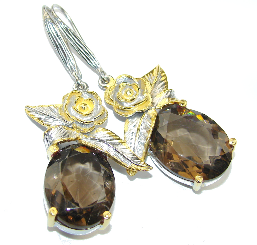 Beautiful AAA Smoky Topaz, Gold Plated Sterling Silver earrings