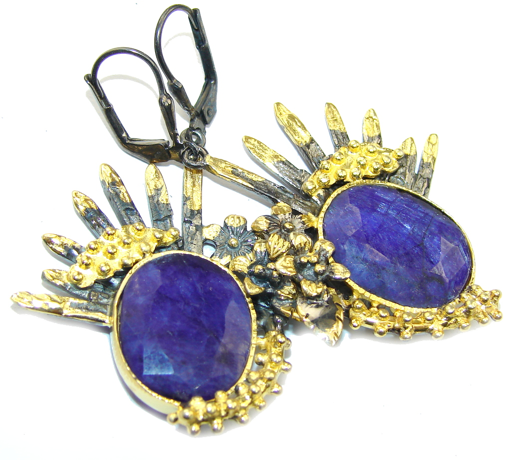 Stunning Natural Blue Sapphire, Gold Plated, Rhodium Plated Sterling Silver earrings
