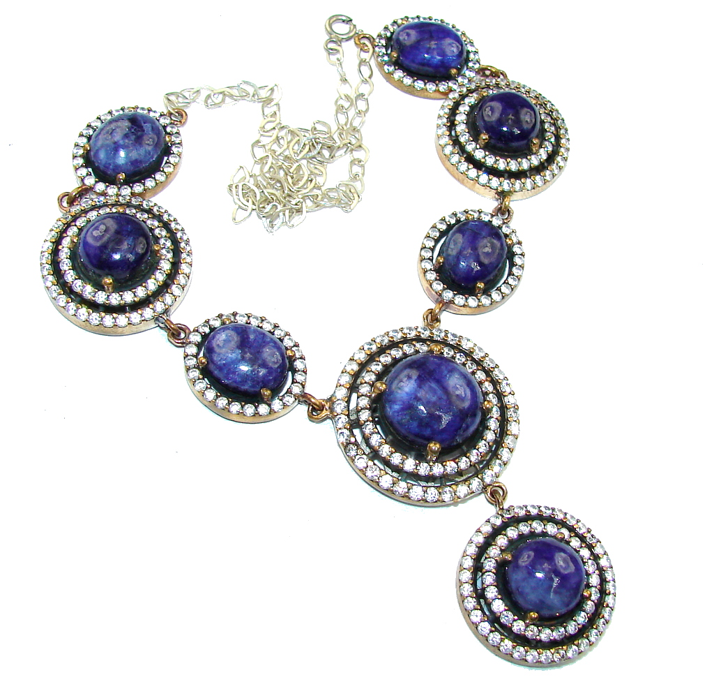 Victorian Style! Blue Kyanite & White Topaz Sterling Silver necklace