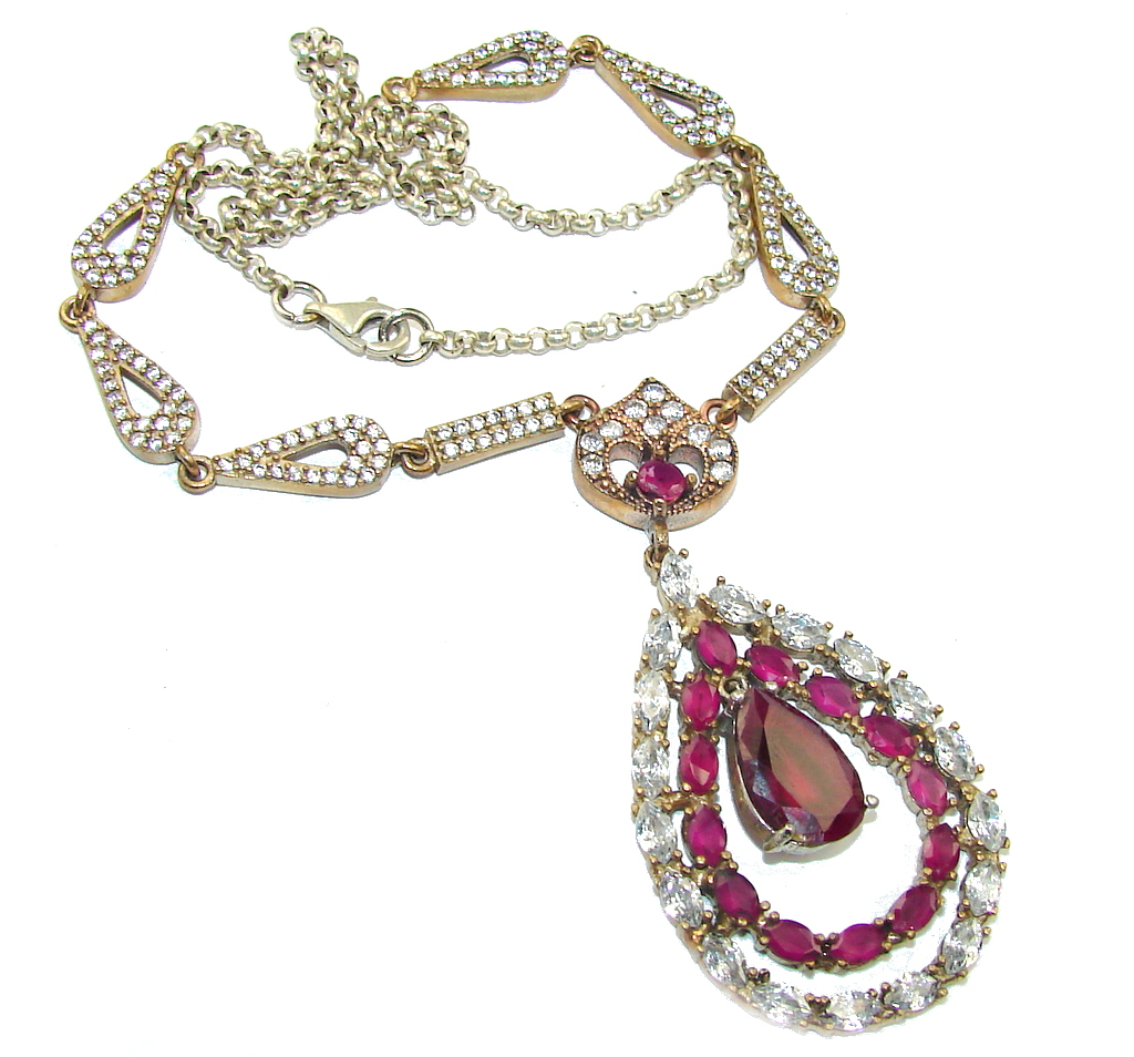 Victorian Style! Ruby & White Topaz Sterling Silver Necklace