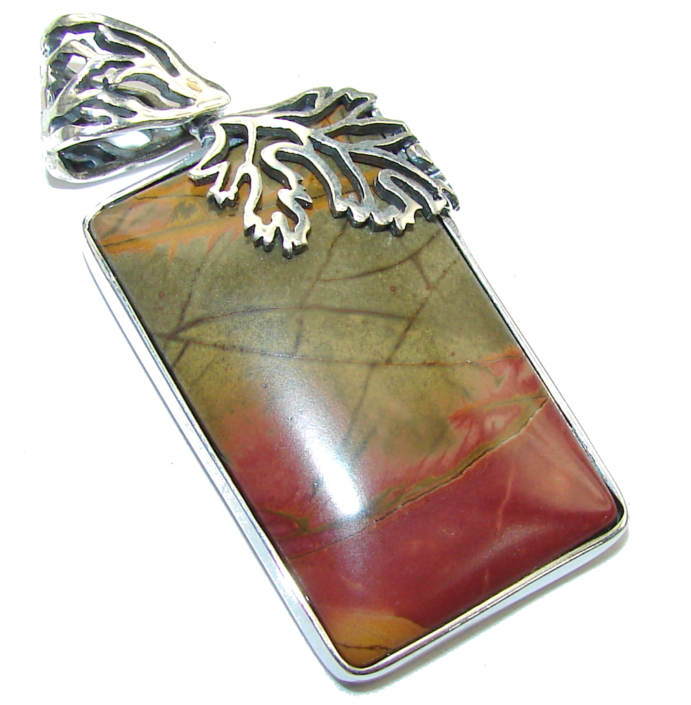 Perfect AAA Red Creek Jasper Sterling Silver Pendant