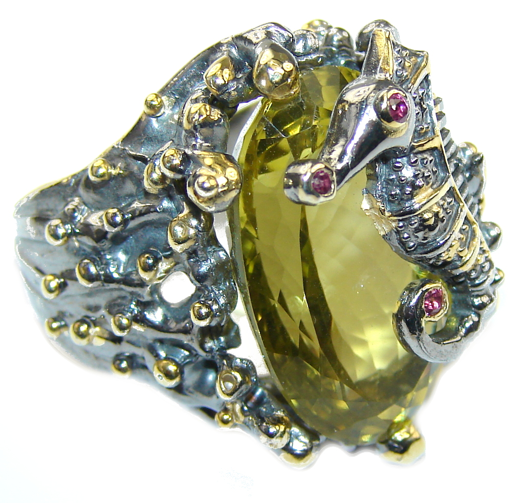 Secret Seahorse AAA Citrine, Gold Plated, Rhodium Plated Sterling Silver Ring s. 9 1/2