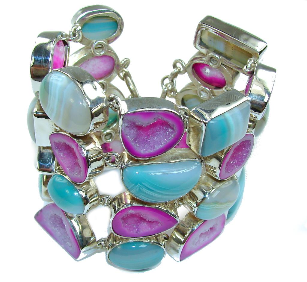 Huge! World Of Beauty!! Agate Druzy & Agate Sterling Silver Bracelet