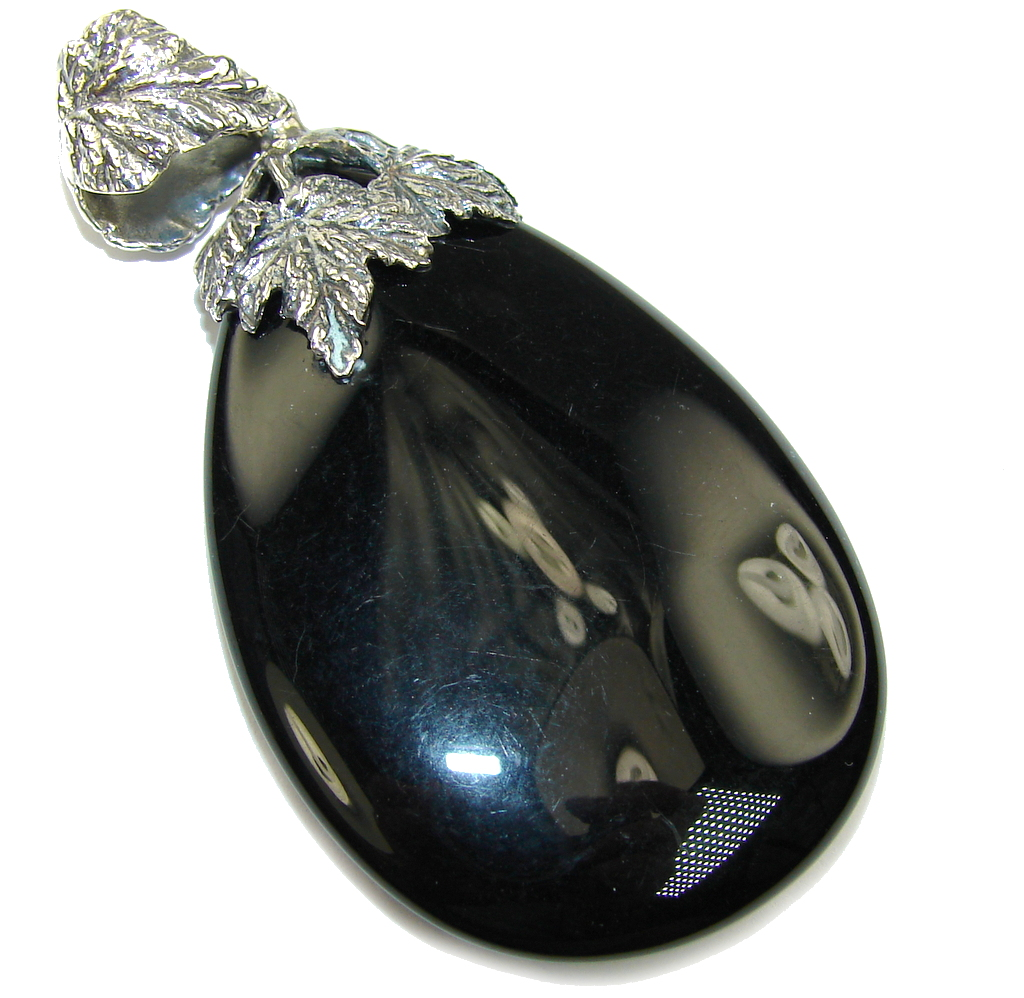 Big! Just Perfect! Black Onyx Sterling Silver Pendant