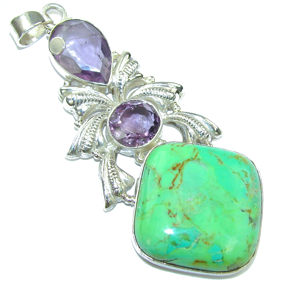 Big! Green Island Turquoise Sterling Silver Pendant