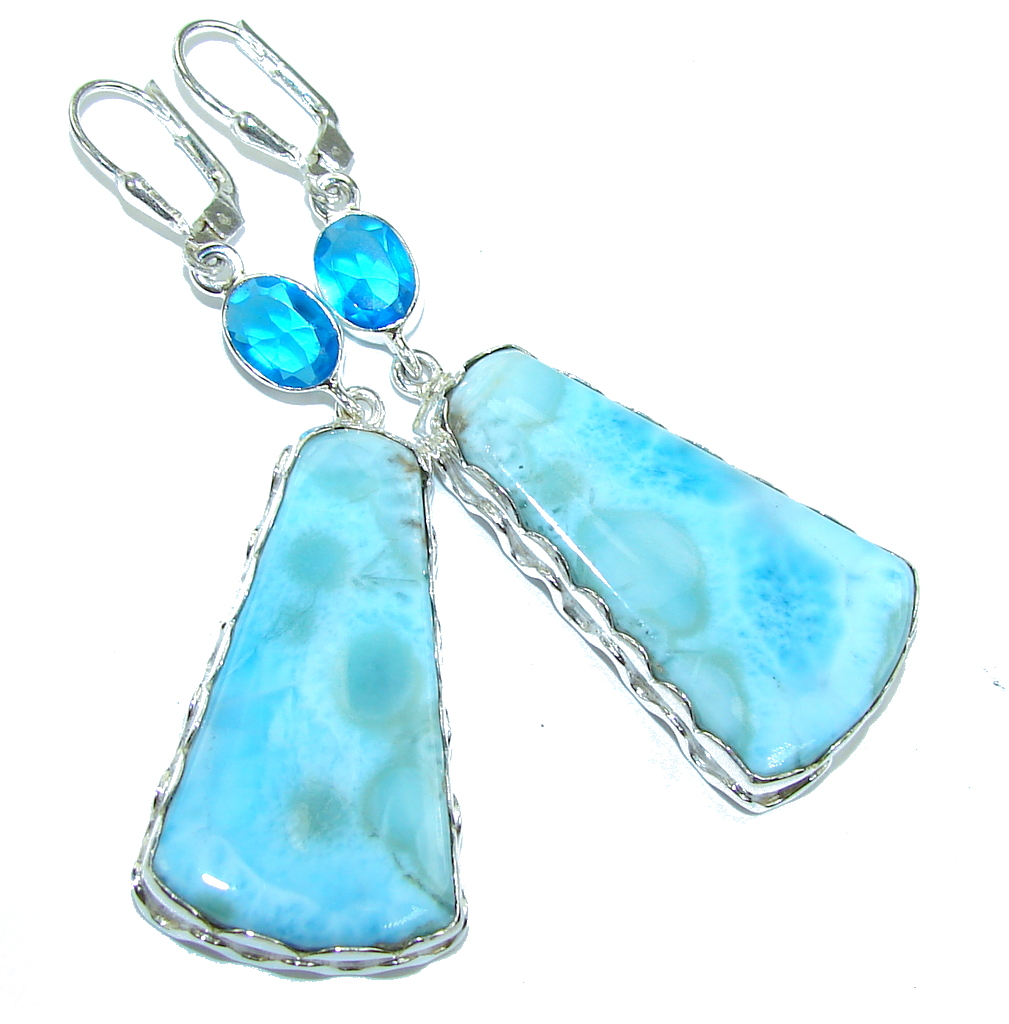 Artisian Design AAA Blue Larimar & London Blue Topaz Sterling Silver earrings
