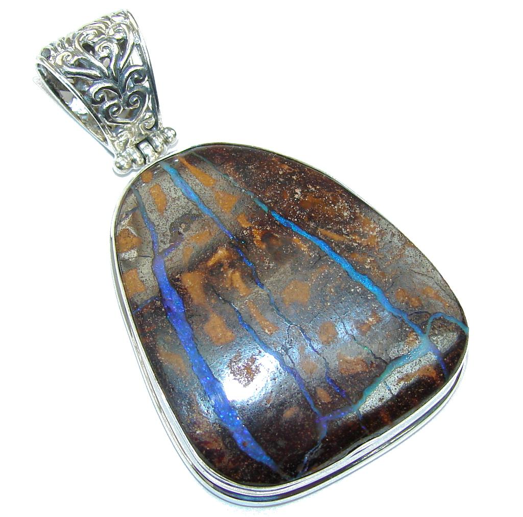 Huge Natural AAA Australian Boulder Opal Sterling Silver Pendant